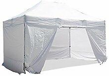 INTEROUGE - Pavillon Faltzelt 3x4,5m mit 4 Seitenwände in polyester 300g/m² mit PVC-beschichtet - Aluminium Zelt Marktstand Marktzelt Gartenzelt Messestand - Weiß
