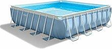Intex 28766GN - Prism Frame Pool Komplett-Set 488 x 488 x 122 cm mit Filterpumpe, Stahlrohrbecken