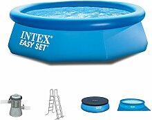 Intex 305x91 cm Easy Pool Komplettset incl. Filterpumpe 2271L/Std, Poolleiter, Abdeckplane und Unterlegeplaneplane 289351