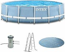 Intex 366x122 Komplettset mit Intex Kartuschenfilteranlage 3406L/Std, Intex Sicherheitsleiter, Intex Anschlusset, Solarfolie Swimming Pool Schwimmbad Frame Metal Stahlwand