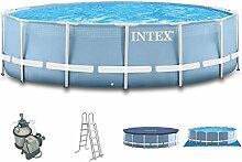Intex 366x91 Schwimmbecken mit Sandfilter, Sicherheitsleiter,Abdeckplane,Unterlegeplane und Anschlussset für Pool Schwimmbad Frame Metal Stahlwand