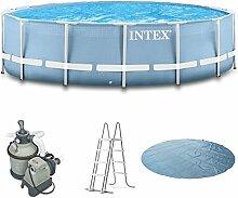 Intex 366x91 Schwimmbecken mit Sandfilter, Sicherheitsleiter, Solarplane,Anschlussset für Pool Schwimmbad Frame Metal Stahlwand