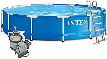 Intex 457x122 Komplettset mit Intex Sandfilteranlage 4m³, Intex Sicherheitsleiter, Intex Anschlusset, Solarfolie Swimming Pool Schwimmbad Frame Metal Stahlwand