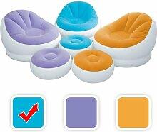 Intex aufblasbarer Lounge Sessel mit Fußbank in 3 Farben, Farbe:Blau