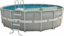 Intex Aufstellpool Frame Pool Set Ultra Rondo, Grau, Ø 488 x 122 cm
