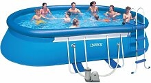 Intex Aufstellpool Oval Frame Pool Set, Blau, 549