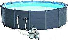 Intex Graphite Gray Panel Pool Set, blau / grau, 478 x 478 x 124 cm, 16,81 L, 28382GN