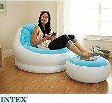 INTEX Sessel mit Ottomane, türkis, Beflockte Sitzfläche, Stabile Wandstärken // Sessel mit Hocker Sofa Sessel Luftmatratze aufblasbarer Sessel