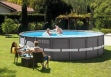 Intex Ultra Rondo Frame Pool Set, 12706 Liters, Grau, Durchmesser 427 x 107 cm