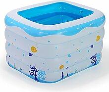 Intime Rectangle Blumendruck-Baby-Pool, Säuglingsspiel Pool Badewanne, Blau