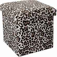 Intirilife – 30 x 30 x 30 cm Aufbewahrungs-Box aus Stoff und Pappe Faltbox Ordnungsbox Kiste mit Deckel und Tieraufdruck in LEOPARDEN-MUSTER
