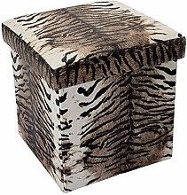 Intirilife – 30 x 30 x 30 cm Aufbewahrungs-Box aus Stoff und Pappe Faltbox Ordnungsbox Kiste mit Deckel und Tieraufdruck in TIGER-MUSTER
