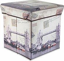 Intirilife – 30 x 30 x 30 cm Sitzhocker Aufbewahrungs-Box aus Stoff und Pappe Faltbox Ordnungsbox Kiste mit Deckel und London Aufdruck in LONDON-BRIDGE