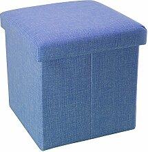 Intirilife – 30 x 30 x 30 cm Sitzhocker Aufbewahrungs-Box aus Stoff in Leinen-Optik und Dekopappe Faltbox Ordnungsbox Kiste mit Deckel in MEER-BLAU