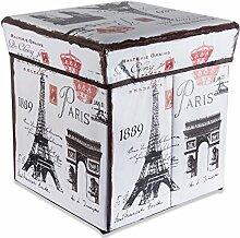 Intirilife – 30 x 30 x 30 cm Sitzhocker Aufbewahrungs-Box aus Stoff und Pappe Faltbox Ordnungsbox Kiste mit Deckel und Paris Aufdruck in EIFFELTURM