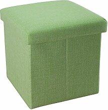 Intirilife – 30 x 30 x 30 cm Sitzhocker Aufbewahrungs-Box aus Stoff in Leinen-Optik und Dekopappe Faltbox Ordnungsbox Kiste mit Deckel in FRÜHLINGS-GRÜN