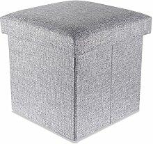 Intirilife – 30 x 30 x 30 cm Sitzhocker Aufbewahrungs-Box aus Stoff in Leinen-Optik und Dekopappe Faltbox Ordnungsbox Kiste mit Deckel in ALASKA-GRAU