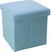 Intirilife – 30 x 30 x 30 cm Sitzhocker Aufbewahrungs-Box aus Stoff in Leinen-Optik und Dekopappe Faltbox Ordnungsbox Kiste mit Deckel in HIMMEL-BLAU