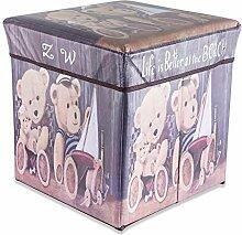Intirilife – 30 x 30 x 30 cm Sitzhocker Aufbewahrungs-Box aus Stoff und Pappe Faltbox Ordnungsbox Kiste mit Deckel und Teddy Aufdruck in TEDDY-LOVE