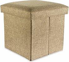 Intirilife – 38 x 38 x 38 cm Sitzhocker Aufbewahrungs-Box aus Stoff in Leinen-Optik und Dekopappe Faltbox Ordnungsbox Kiste mit Deckel in BERNSTEIN-BRAUN
