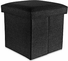 Intirilife – 38 x 38 x 38 cm Sitzhocker Aufbewahrungs-Box aus Stoff in Leinen-Optik und Dekopappe Faltbox Ordnungsbox Kiste mit Deckel in DIAMANT-SCHWARZ
