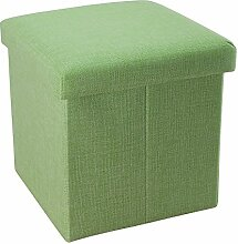 Intirilife – 38 x 38 x 38 cm Sitzhocker Aufbewahrungs-Box aus Stoff in Leinen-Optik und Dekopappe Faltbox Ordnungsbox Kiste mit Deckel in FRÜHLINGS-GRÜN