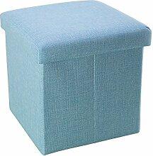 Intirilife – 38 x 38 x 38 cm Sitzhocker Aufbewahrungs-Box aus Stoff in Leinen-Optik und Dekopappe Faltbox Ordnungsbox Kiste mit Deckel in HIMMEL-BLAU