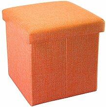 Intirilife – 38 x 38 x 38 cm Sitzhocker Aufbewahrungs-Box aus Stoff in Leinen-Optik und Dekopappe Faltbox Ordnungsbox Kiste mit Deckel in MANDARINEN-ORANGE