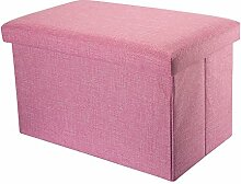 Intirilife – 49 x 30 x 30 cm Sitzhocker Aufbewahrungs-Box aus Stoff in Leinen-Optik und Dekopappe Faltbox Ordnungsbox Kiste mit Deckel in KIRSCHBLÜTEN-PINK