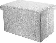 Intirilife – 49 x 30 x 30 cm Sitzhocker Aufbewahrungs-Box aus Stoff in Leinen-Optik und Dekopappe Faltbox Ordnungsbox Kiste mit Deckel in ALASKA-GRAU