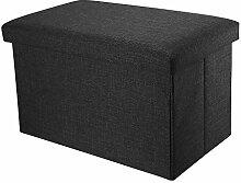 Intirilife – 49 x 30 x 30 cm Sitzhocker Aufbewahrungs-Box aus Stoff in Leinen-Optik und Dekopappe Faltbox Ordnungsbox Kiste mit Deckel in DIAMANT-SCHWARZ