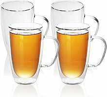 Intirilife 4X Doppelwandiges Thermo Glas Set in
