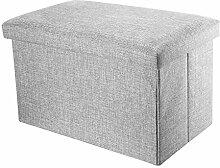 Intirilife – 78 x 38 x 38 cm Sitzbank mit Stauraum aus Stoff in Leinen-Optik - Aufbewahrungs-Box Sitzhocker Faltbox Ordnungsbox Aufbewahrungsbank Sitz-Truhe Fußbank Bettbank Kiste mit Deckel in ALASKA-GRAU
