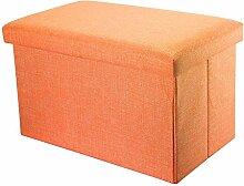 Intirilife – 78 x 38 x 38 cm Sitzbank mit Stauraum aus Stoff in Leinen-Optik - Aufbewahrungs-Box Sitzhocker Faltbox Ordnungsbox Aufbewahrungsbank Sitz-Truhe Fußbank Bettbank Kiste mit Deckel in MANDARINEN-ORANGE