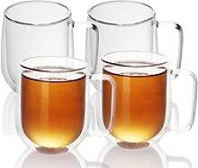 Intirilife Thermoglas, Glas, 4x Doppelwandiges