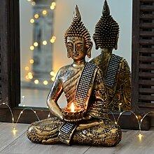 INtrenDU Buddha Statue Bronze mit Teelichthalter