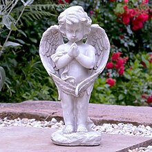 Grabschmuck Grabengel mit Vogeltränke 41cm Trauerengel Grabdeko Engel Grabfigur