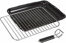 Invero® Universal Ofen Kocher Grill komplett mit Stahldraht-Zahnstange und abnehmbarer Handgriff verwendbar für die meisten Ofen-Kocher - 387mm x 300mm