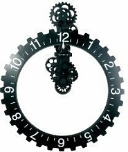 Invotis Coole Wanduhr: Big hour wheel clock in schwarz