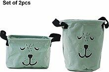 Inwagui 2er Set Multifunktionale Aufbewahrungsbox aus Stoff Faltbar Storage Bag Aufbewahrungstasche Zeitschriften, Snacks, Spielzeug, Bürobedarf-Grün