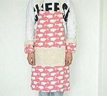 Inwagui Schürze mit Taschen, Kochschürze für Frauen und Männer aus 100% Baumwollleinen, Küchenschürze-Rosa