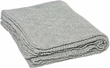 INWOOL 100% Baby Alpaka Decke Wolldecke Alpakadecke 130x180cm - Kollektion Super Soft - Block Hellgrau