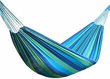 inymuse Tragbare Outdoor Double Hängematte Garten Sport Home Reisen Camping Swing Leinwand Streifen Aufhängen Bett, blau