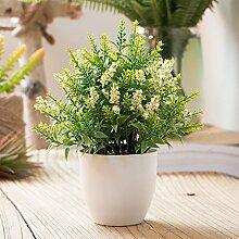 IOC Nachahmung Blume Gefälschte Blumentopf Lavendel Blumen und Pflanzen Pflanzen Kreative Dekorationen Simulation Grüne Pflanze Ornamente,C