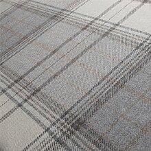 Iona 'Flint Plaid': Grau Wolle Polstermöbel Sofa Kissen Flammschutzmittel Stoff Material aus loome Stoffe, Iona 'Flint Plaid' : Grey, per metre
