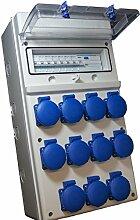 IP 67 Baustromverteiler 11 x 230 V verdrahtet incl. Hager FI & Sicherungen