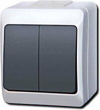 IP44 IP55 Aufputz Schalter -\Steckdosenprogramm Feuchtraum Schuko HERMES AQUANT (IP44 Doppelschalter Grau 0332-01)