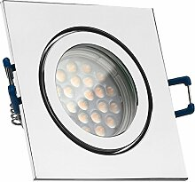 IP44 LED Einbaustrahler Set Chrom mit LED GU10