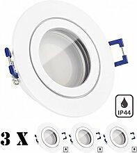 IP44 LED Einbaustrahler Set Weiß matt mit LED