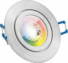 IP44 RGB LED Einbaustrahler Set GU10 in aluminium